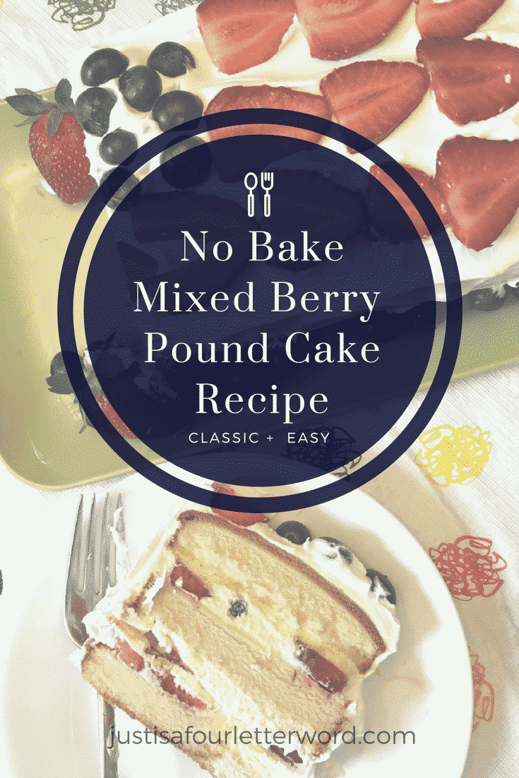 If you are short on time but still want the wow-factor, this easy no bake mixed berry pound cake recipe is just the dessert for you!