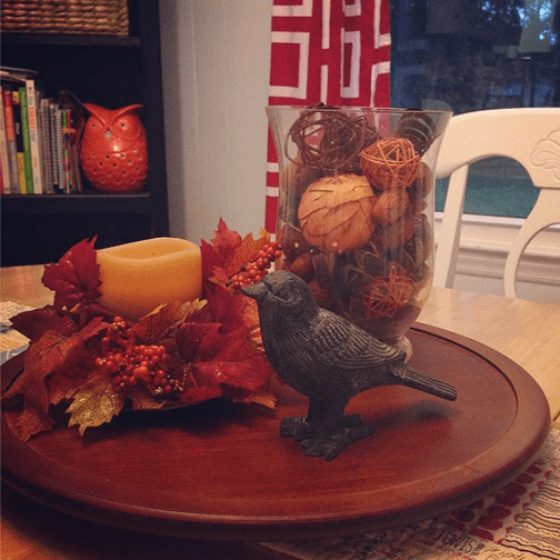 fall thanksgiving centerpiece on lazy susan
