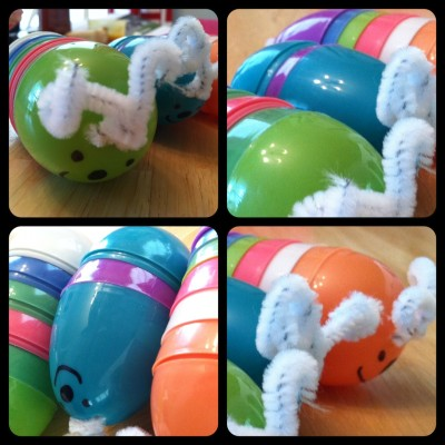 Easy Caterpillar craft from leftover Easter eggs!