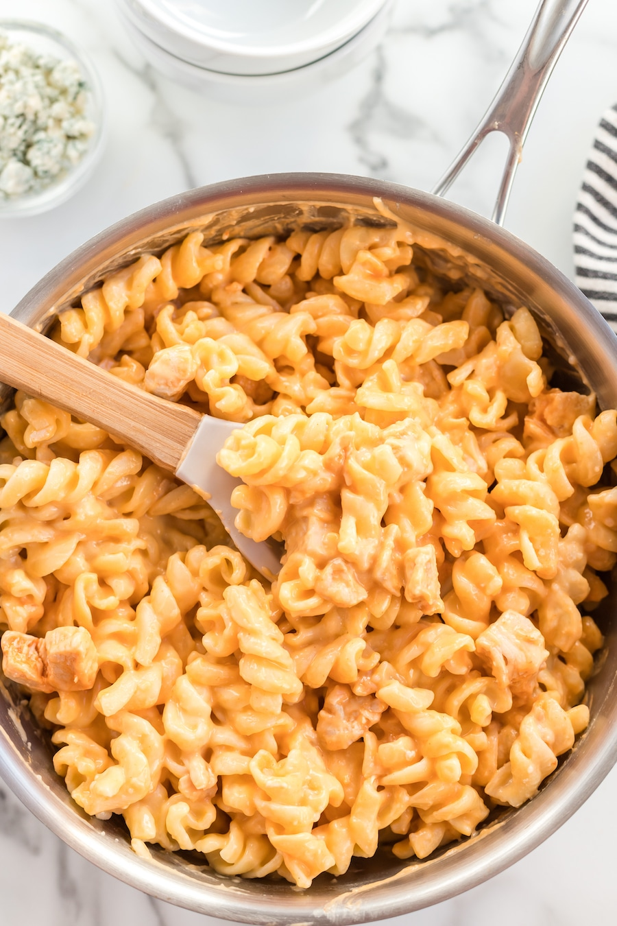 Buffalo Chicken Mac & Cheese in pan