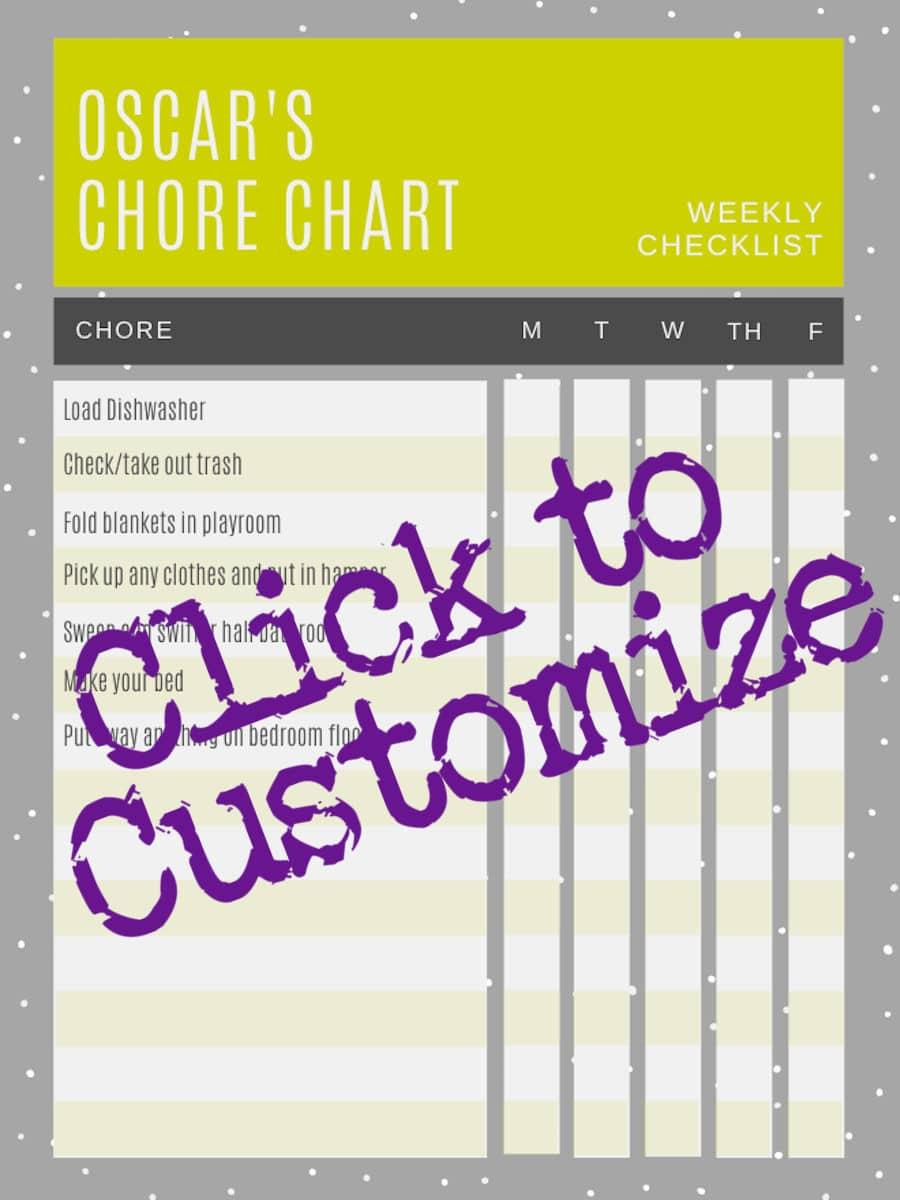 Custom chore chart template