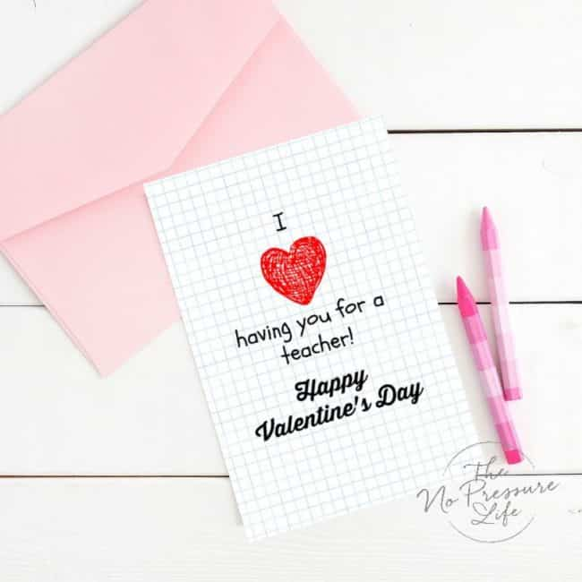photograph relating to Teacher Valentine Printable referred to as Uncomplicated Instructor Valentines - Free of charge Printable Playing cards for Trainer Items