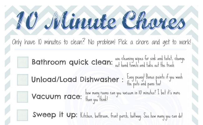 Easy 10 Minute Chores {free printable}