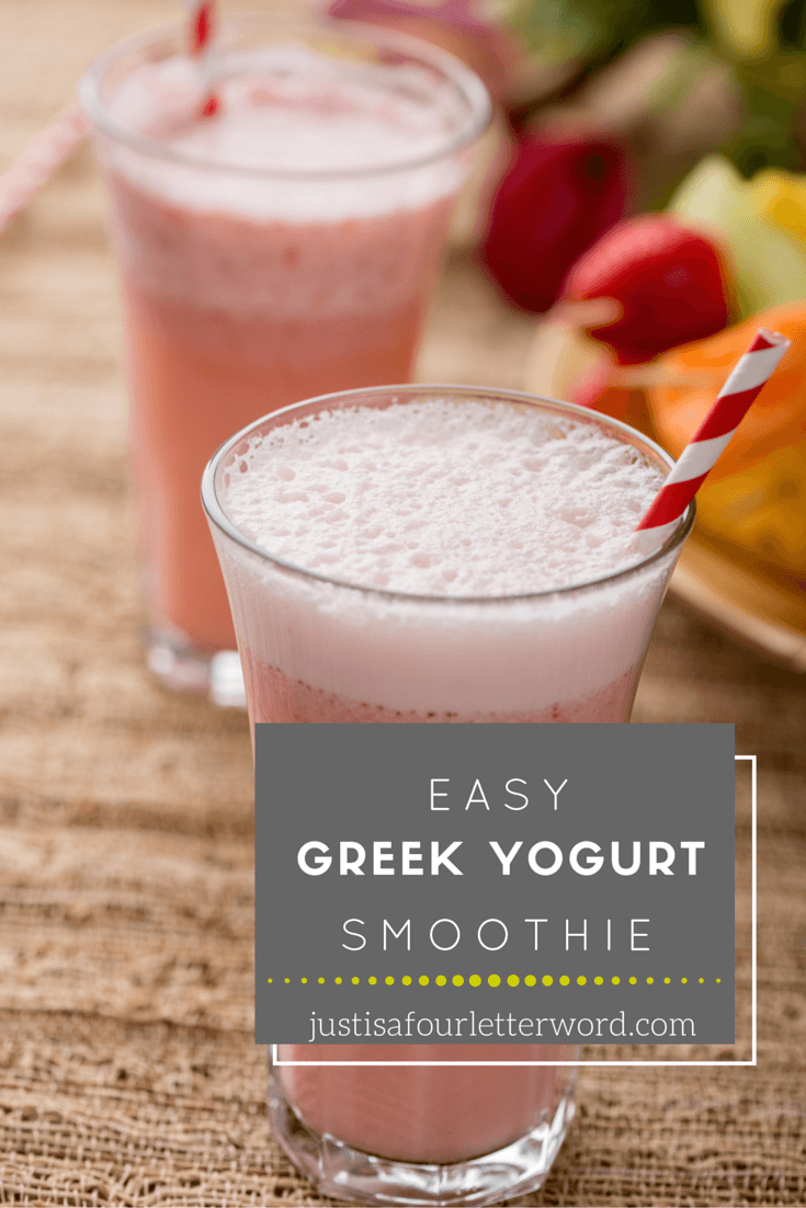 Try this tasty and easy greek yogurt smoothie recipe made with strawberries, banana, spinach and more! Great for clean eating, weightloss and just all around tasty goodness.