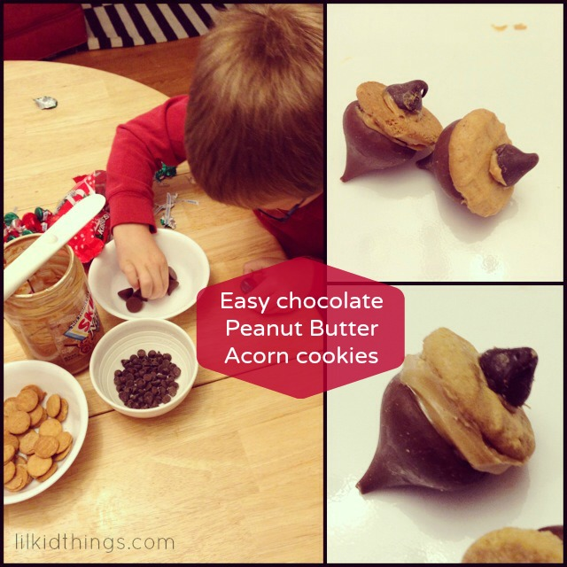 chocolate acorn cookies, christmas cookies for kids, cookies to make with kids, andrea updyke, lilkidthings