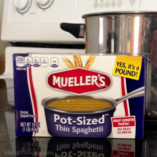 pot sized pasta, muellers, andrea updyke, lilkidthings, spaghetti, carb-loading