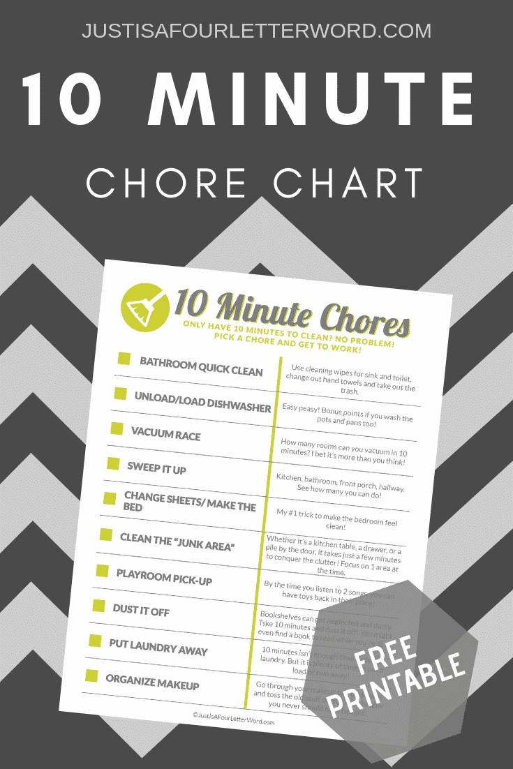 Household chores you can do in 10 minutes for a cleaner, more clutter-free home. Print this free chore chart and work your way down the list to a clean house!