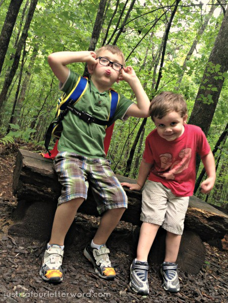 Brothers silly at Arboretum