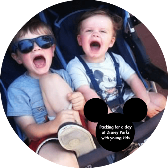 Kids at Disney in stroller