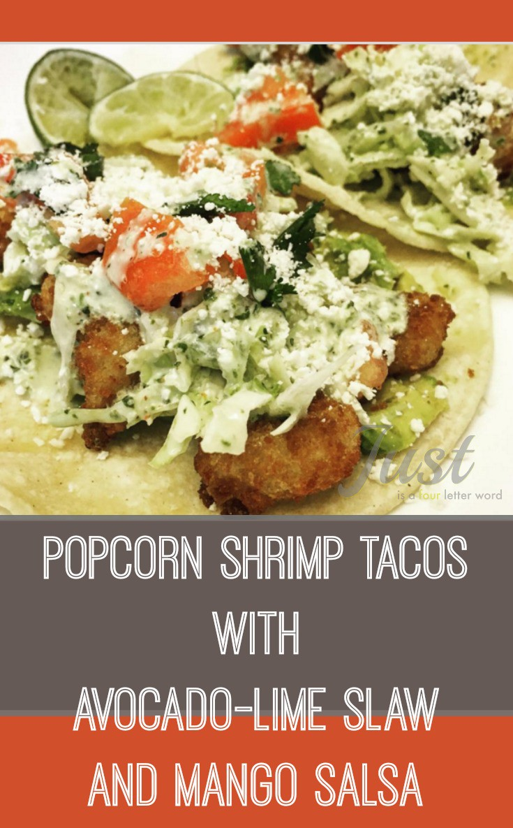 These easy popcorn shrimp tacos with avocado lime slaw and mango salsa are the perfect summer meal. Add some Sriracha for a spicy kick!