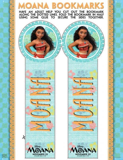 Moana free printable bookmarks