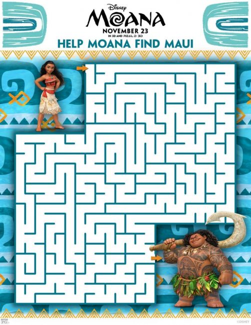 Moana maze printable activity sheet