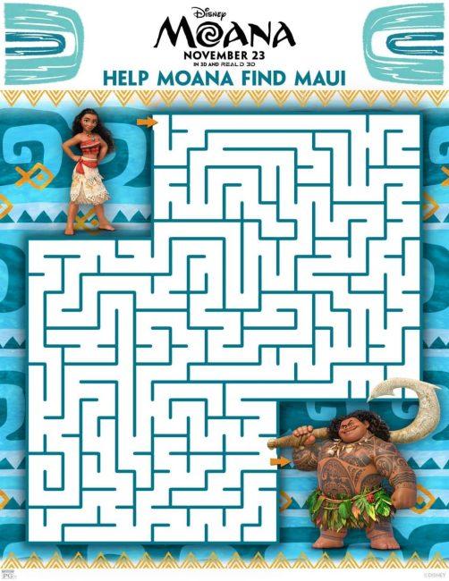 Moana maze printable activity sheet