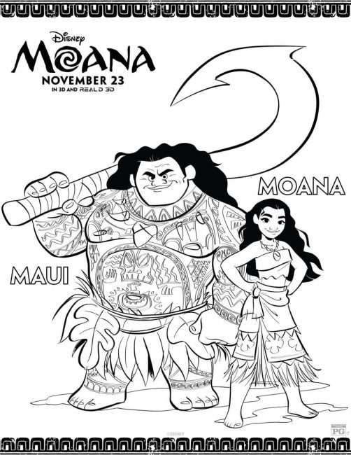 Moana and Maui coloring sheet - free printable!