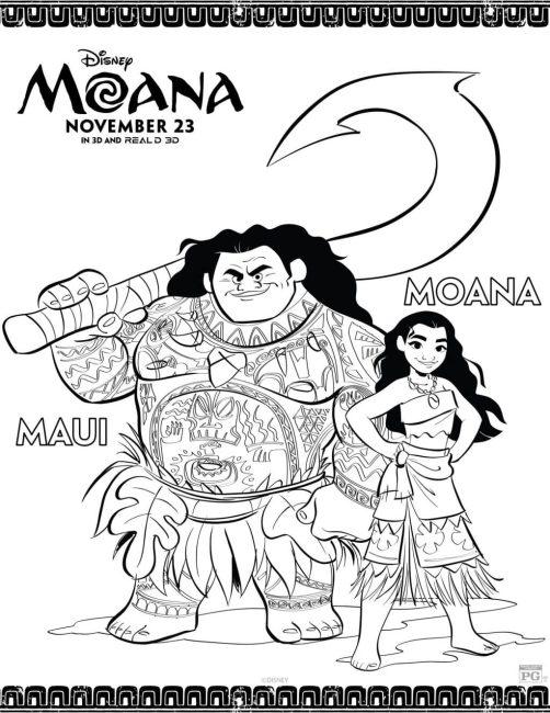 Moana and Maui coloring sheet - free printable!