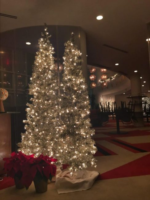Beautiful Christmas decor in the Durham Hotel lobby