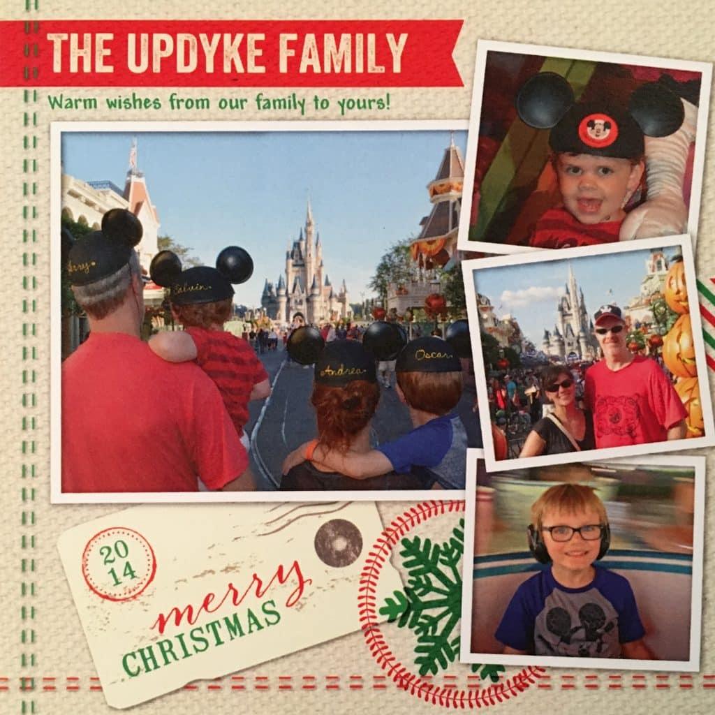 Family photos at Disney World on Christmas Card 2014