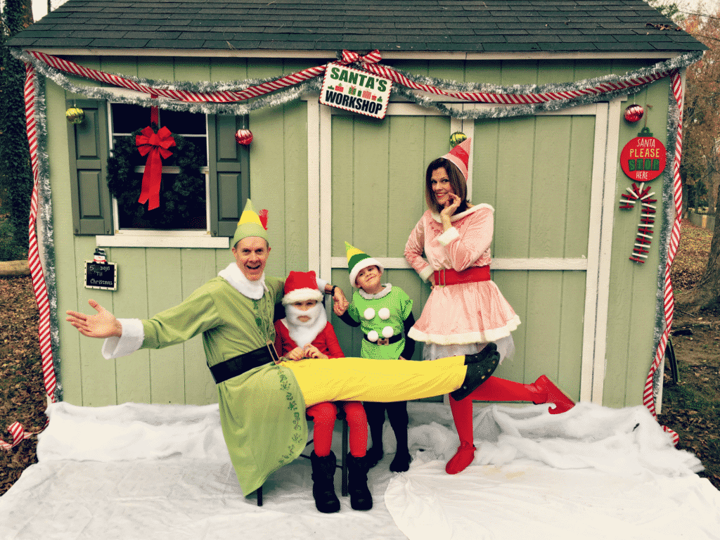 Updyke family dressed as elves for their Christmas Card 2016