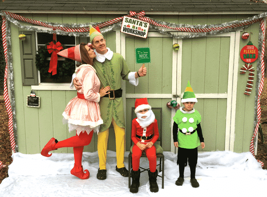The Updyke family elf Christmas Card 2016 silly photo