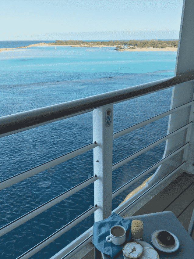 View of Castaway Cay from Disney Dream cruise ship veranda room