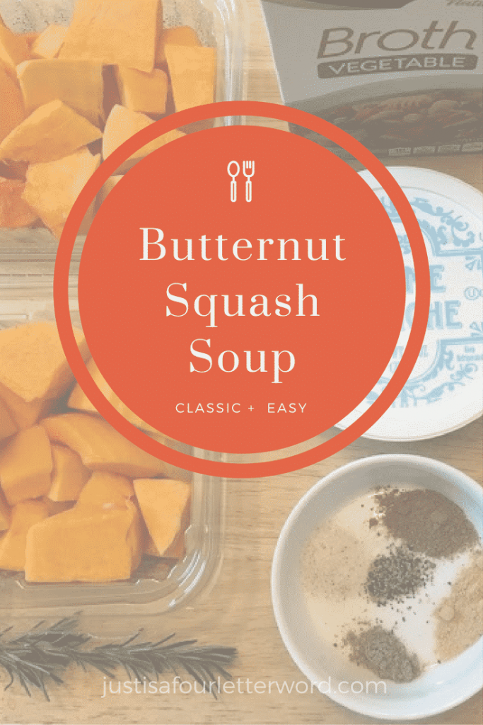 Homemase Butternut Squash Soup Recipe with a few shortcuts to save on time. Great for a cold or rainy weekend dinner.