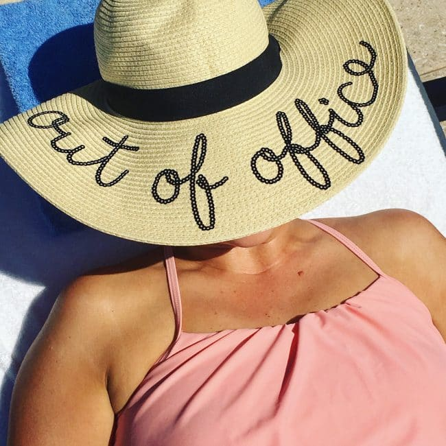 Out of Office Hat Mom 2.0 by the pool