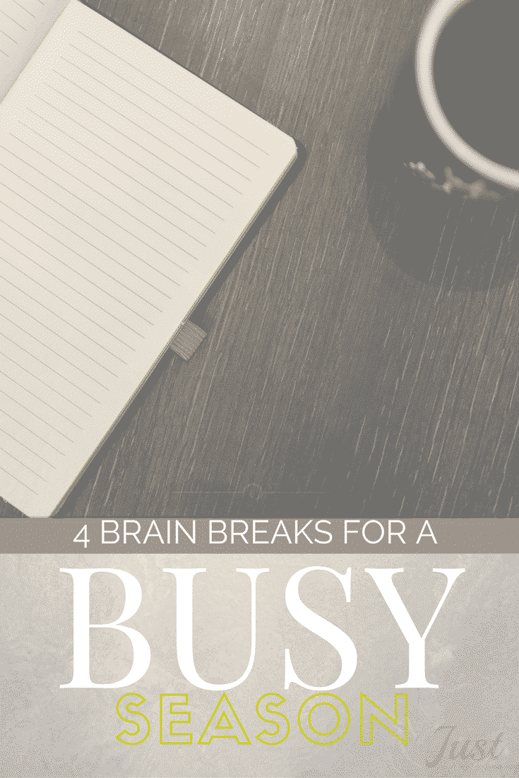 When your mind is moving faster than your body, it might be time for a brain break! Try my hacks for finding rest in the middle of a busy day, week or season.