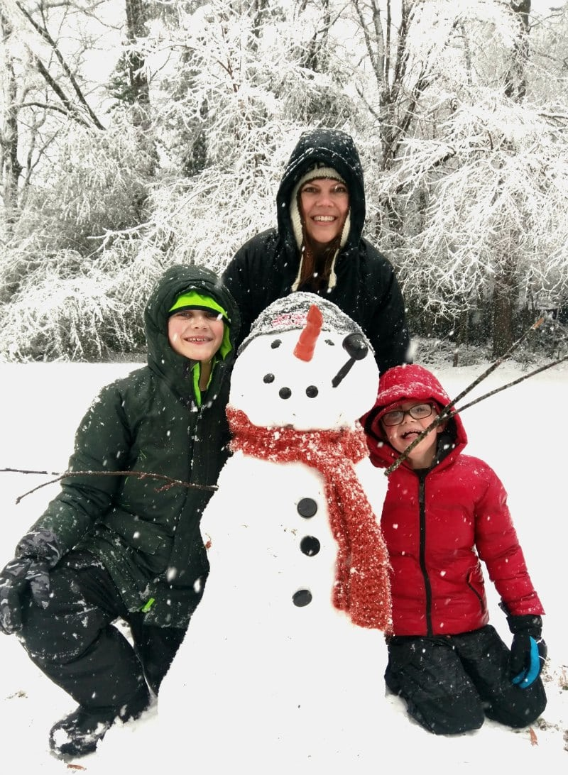 Snowman with mom and kids