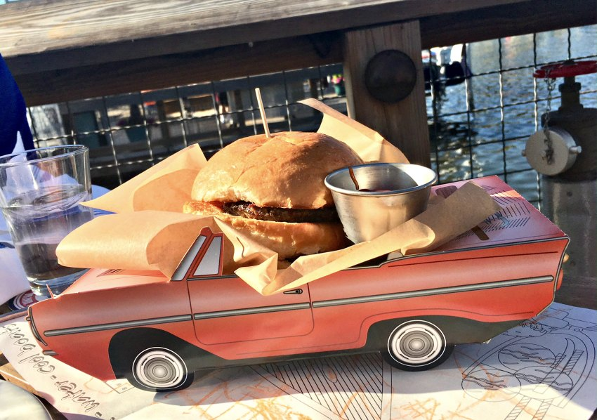 Kids Cheeseburger in amphicar box at The Boathouse Disney Springs