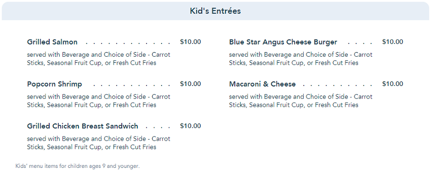 Kids Menu at the Boathouse