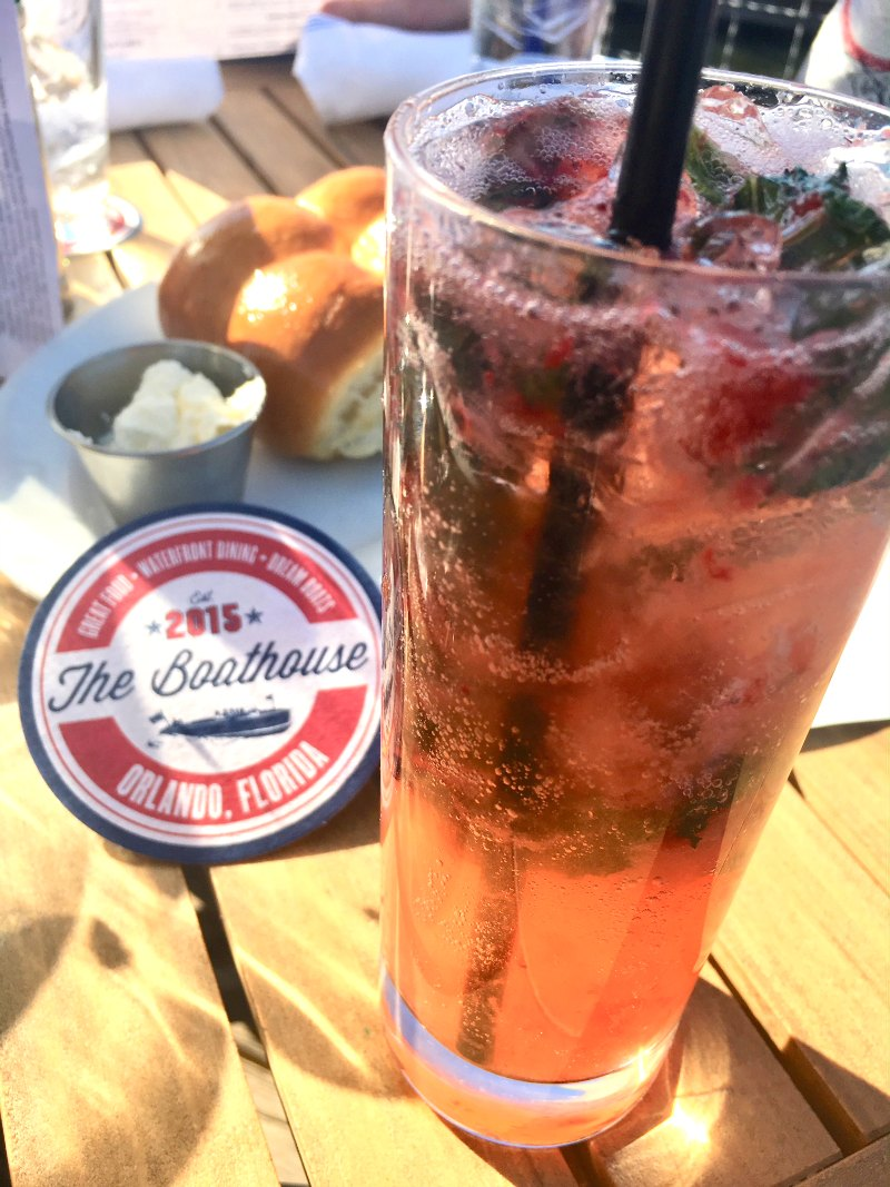 Strawberry Gin Fizz at Disney Springs The Boathouse