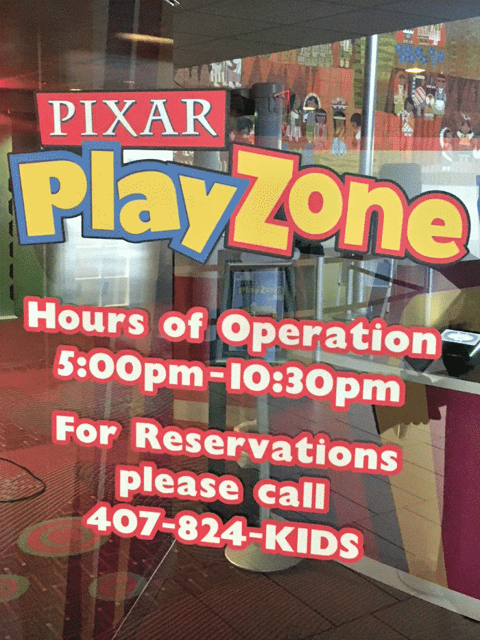 Pixar Play Zone phone number reservations