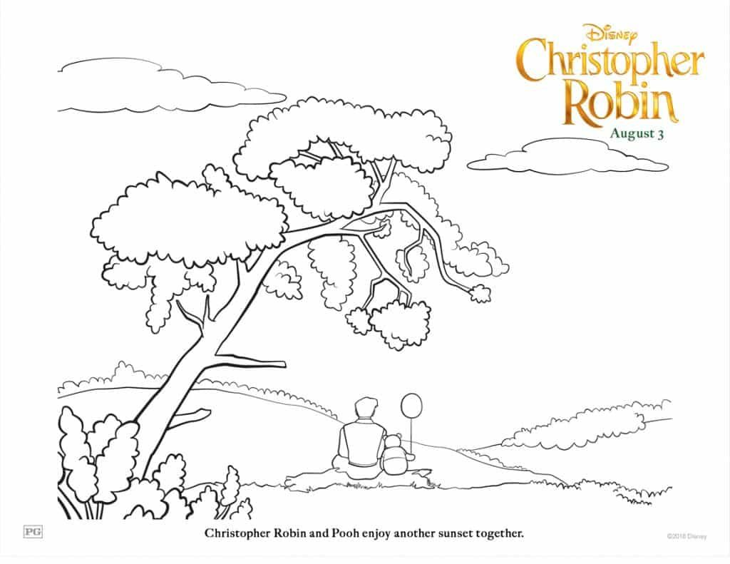 Christopher Robin on log with balloon