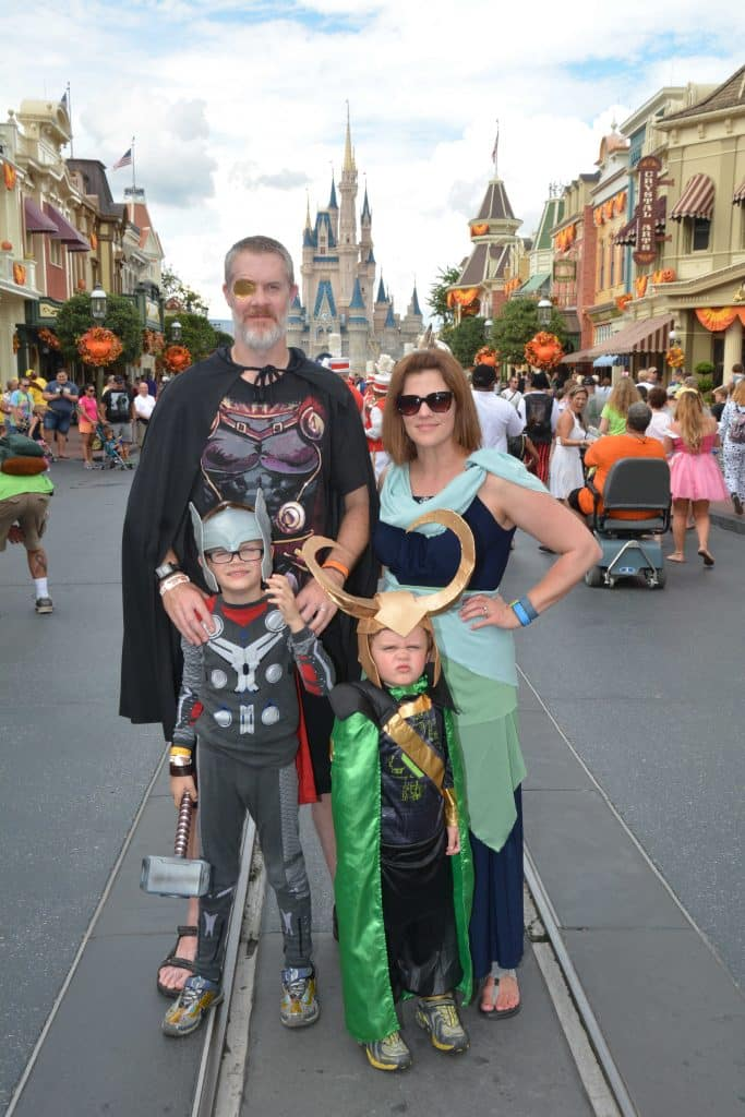 DIY Loki Helmet and Loki Costume with family at Disney World