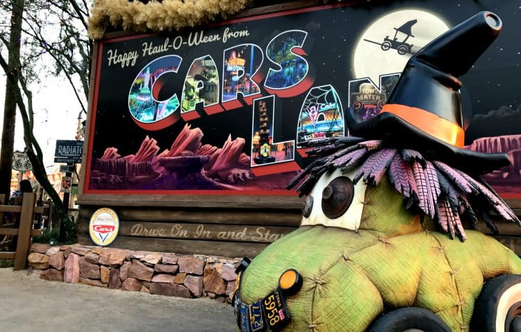 Haul-o-ween at Cars Land sign in Disney California Adventure