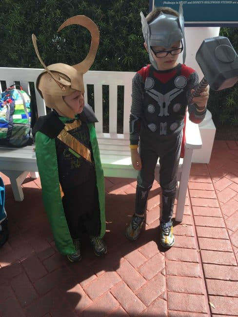 Kids in DIY Loki Costume and Loki Helmet and Thor Costume