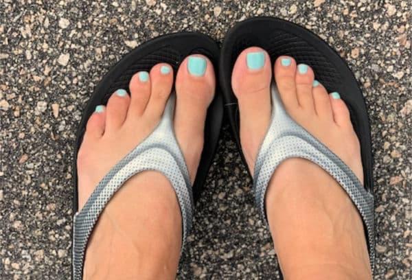 Oofos sandals top view