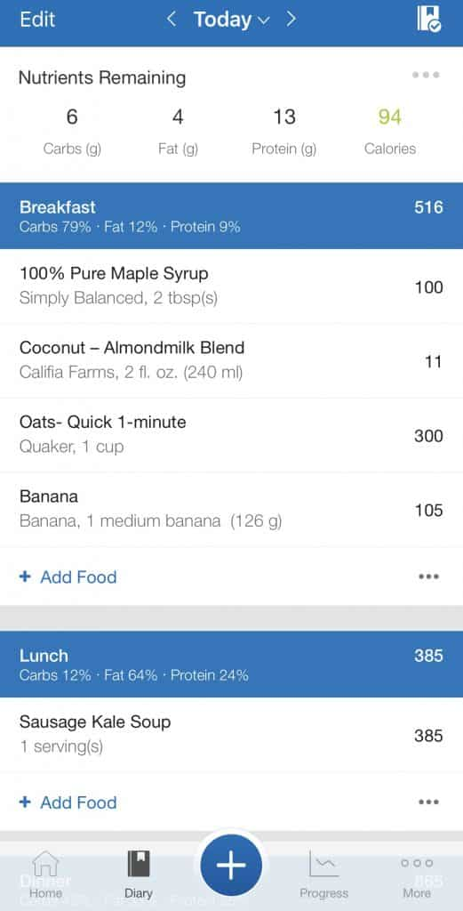 MyFitnessPal Daily Log