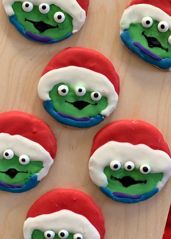Santa Alien Toy Story Cookies drying