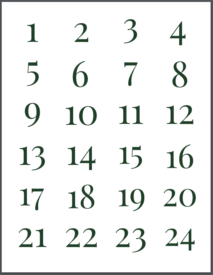 Wine Advent Calendar Countdown Labels
