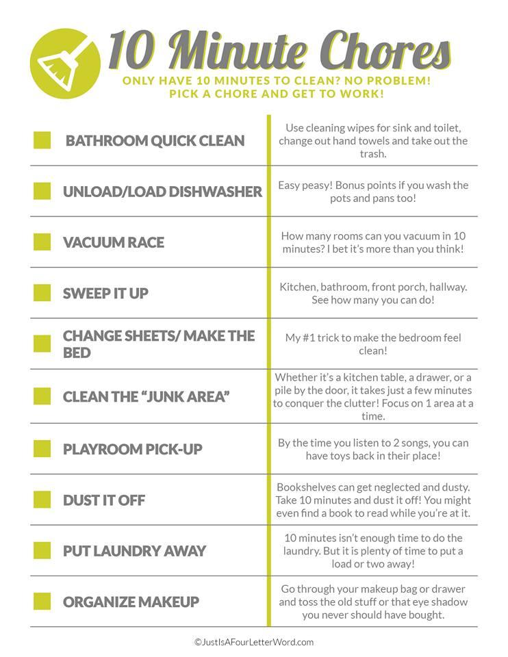 10 minute chores list