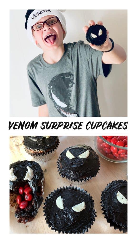 Venom surprise filled cupcakes