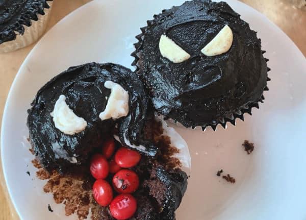 Venom Movie Candy Filled Cupcakes
