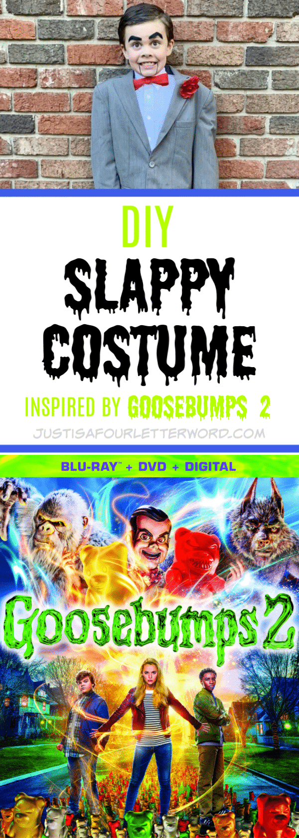 Make this Goosebumps DIY Slappy costume using thrifted items and a little creativity. Perfect for Halloween or playtime inspired by the super fun Goosebumps 2 movie.