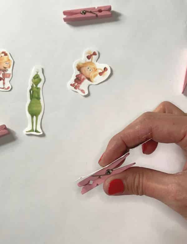 Glue characters to clothespins