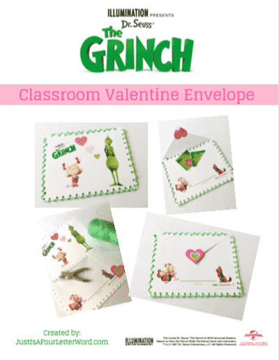 Grinch Valentine Envelope Printable