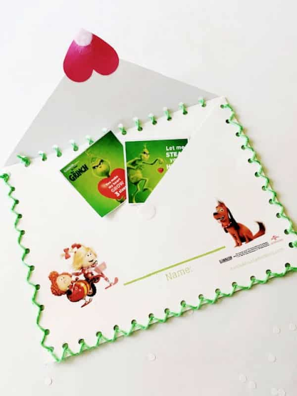 The Grinch Class Valentine Envelope open