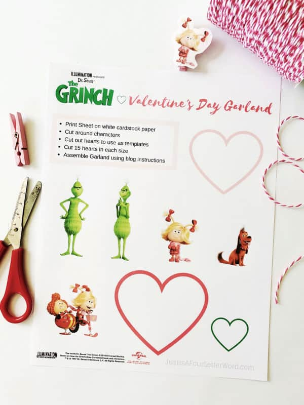 The Grinch Valentines Day Card Holder Garland