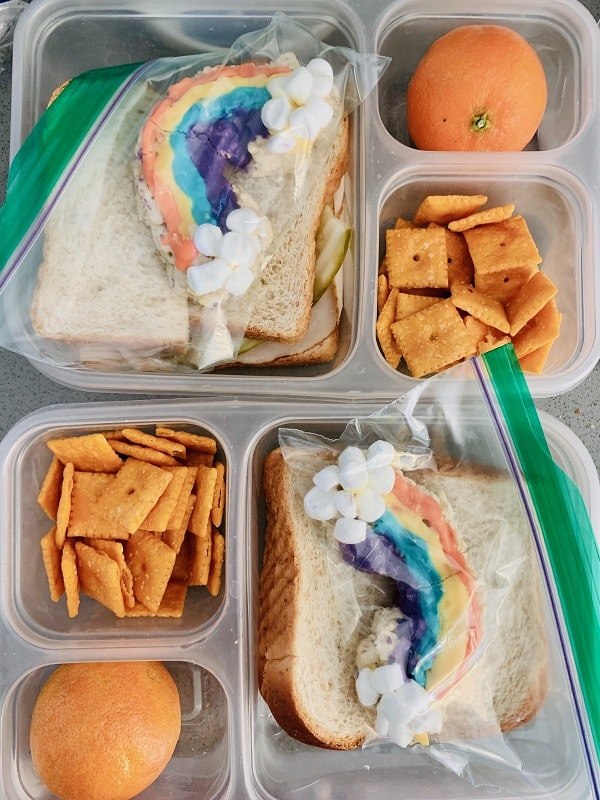lunchbox meal with rainbow marshmallow treats