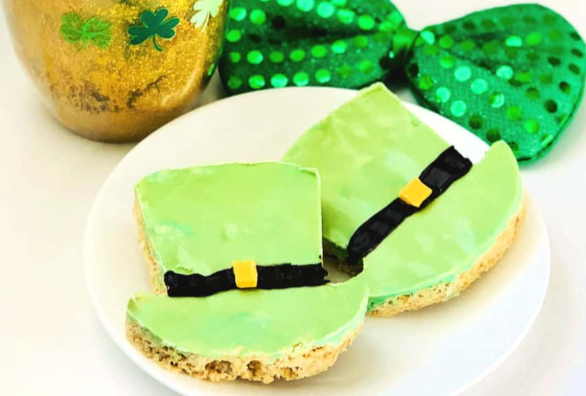 st. patrick's day treats leprechaun hat bars plated